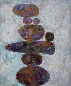 """Seeking Balance"", acrylic painting, whimsical, balanced, stones, orange, purple"