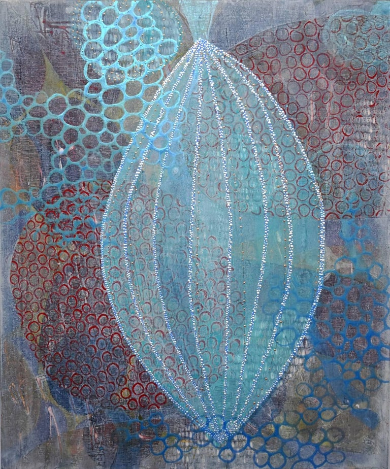 """""""Seeking Lightness"""", Denise Driscoll, abstract, acrylic painting, lanterns, teal - Painting by Denise Driscoll"""