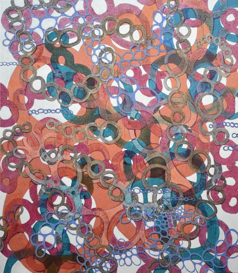 """Denise Driscoll Abstract Painting - """"Shimmer 5"""", abstract, acrylic painting, brightly colored, orange, teal, blue"""