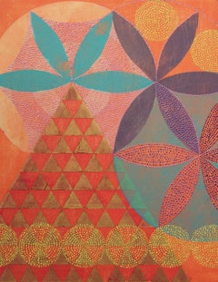 """Triangles 5"", abstract, acrylic painting, geometric, coral, gold, violet, teal"