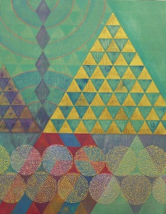 """""""Triangles 6"""", abstract, acrylic painting, geometric, green, gold, red, blue"""