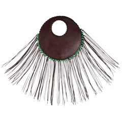 Denise Razzouk Round Brown Leather Handbag With Green Beads and Long Fringe