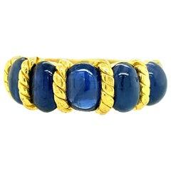 22 Karat Gold Natural Blue Oval Sapphire Ring