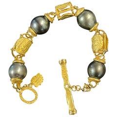 Denise Roberge 22 Karat Yellow Gold Bracelet with Tahitian Pearls
