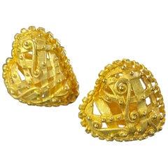 Denise Roberge 22 Karat Gold Heart Earrings