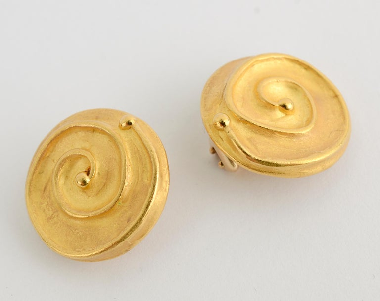 Women's or Men's Denise Roberge Gold Button Earrings with Coiled Design For Sale