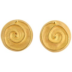 Denise Roberge Gold Button Earrings with Coiled Design