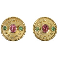 Denise Roberge Pink and Green Tourmaline Earrings