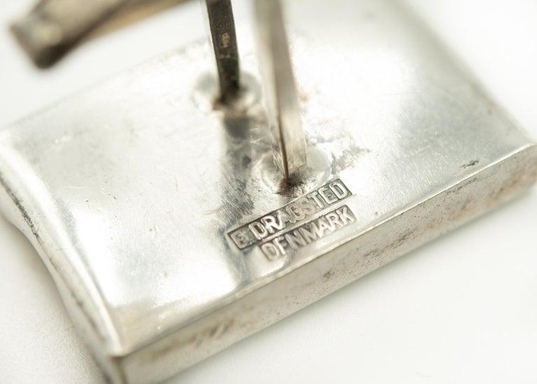 Women's or Men's Denmark Modernist Wave Sterling Silver Rectangular Cufflinks by E. Dragsted For Sale