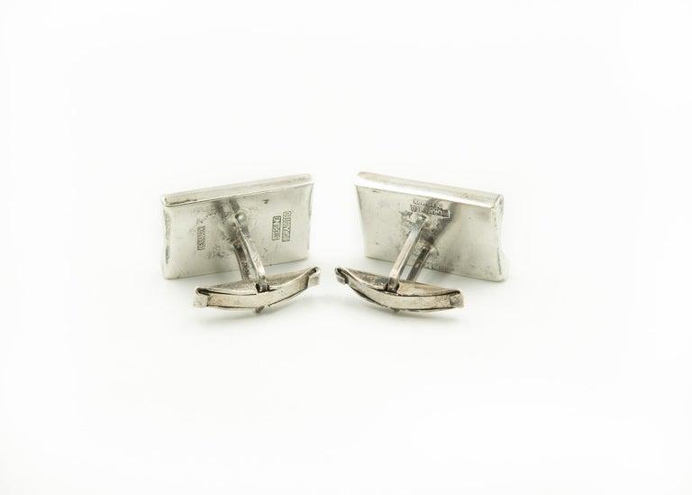 Denmark Modernist Wave Sterling Silver Rectangular Cufflinks by E. Dragsted For Sale 2