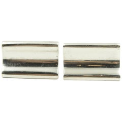 Denmark Modernist Wave Sterling Silver Rectangular Cufflinks by E. Dragsted