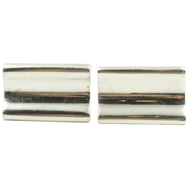 Denmark Modernist Wave Sterling Silver Rectangular Cufflinks by E. Dragsted For Sale