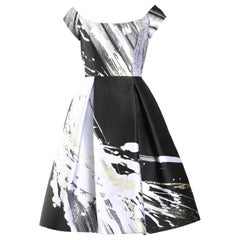 Dennis Basso Couture Boat Neck Black, White and Gold Knee Length Dress