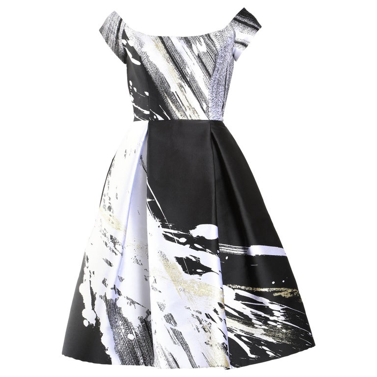 Dennis Basso Couture Boat Neck Black, White and Gold Knee Length Dress For Sale