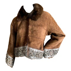Dennis Basso Crystal Embellished Whipstitched Shearling Jacket with Sable Collar