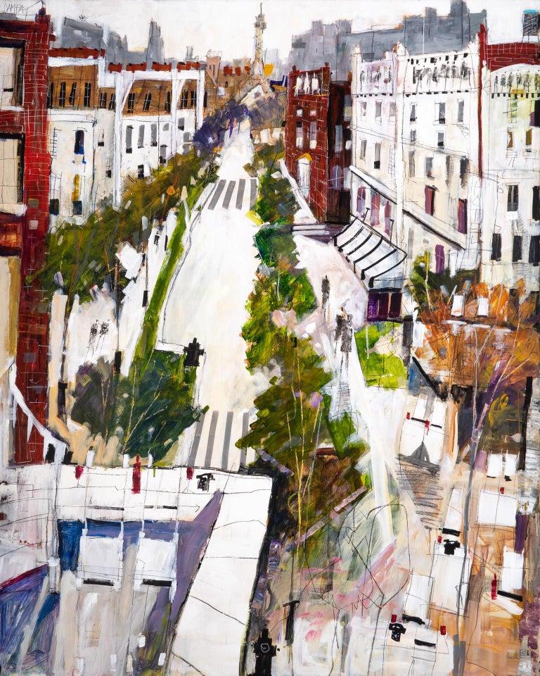 Conversation - Beige Landscape Painting by Dennis Campay