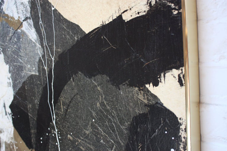 Mid-Century Modern Dennis Frings 'Timbrel Series V' Large Mixed-Media on Board For Sale