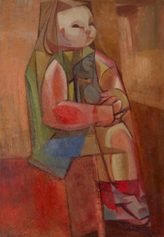 Abstract Cubist Girl on Chair - Mid 20th Century Oil by Dennis Henry Osborne