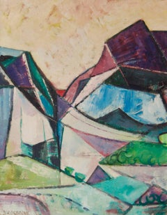 Abstract Landscape - Mid 20th Century Cubist Oil Piece - Dennis Henry Osborne
