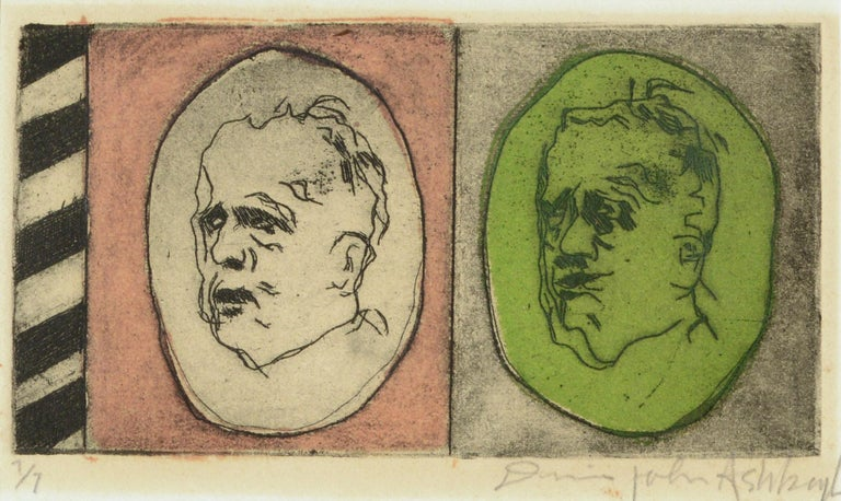 Two Faces - Lithograph Portrait of the Artist Aging - Print by Dennis John Ashbaugh