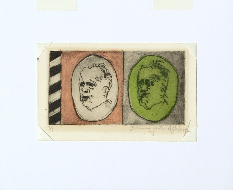 Two Faces - Lithograph Portrait of the Artist Aging For Sale 2