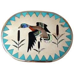 Dennis & Nancy Edaakie Silver Zuni Inlay Belt Buckle with Duck Design