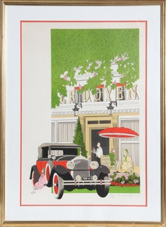 Ledoyen, Framed Art Deco Lithograph by Denis Paul Noyer