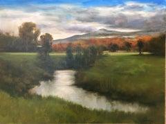 "Dennis Sheehan, ""Autumn Marsh"", 30x40 Tonalist Landscape Oil Painting on Canvas"