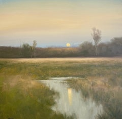 """Dennis Sheehan, """"Marsh Reflections"""", 30x30 Dusk Landscape Oil Painting on Canvas"""
