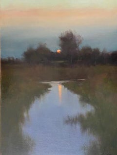 """Dennis Sheehan, """"Moon Reflections"""", 40x30 Dusk Landscape Oil Painting on Canvas"""