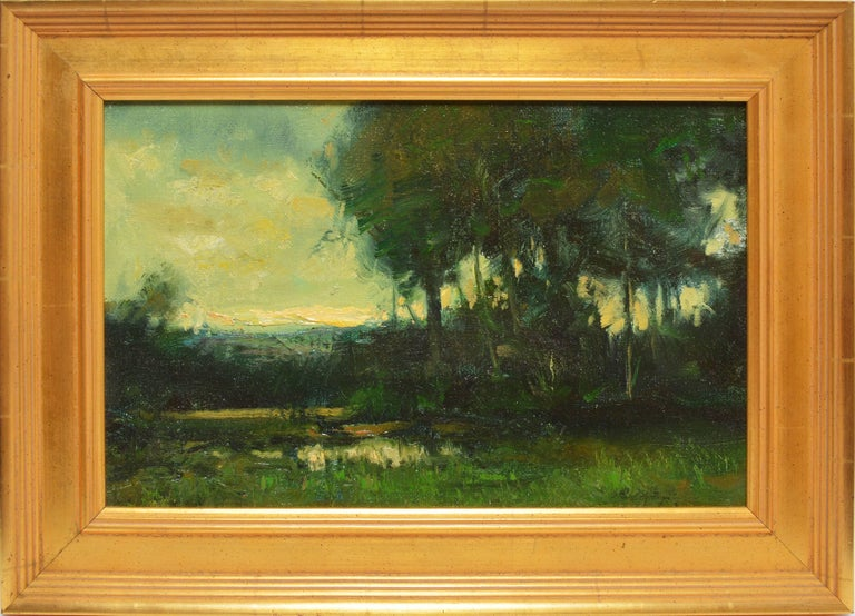 """Tonalist sunset landscape by Dennis Sheehan  (born 1950).  Oil on canvas, circa 1990.  Signed lower right.  Displayed in a giltwood frame.  Image size, 14""""L x 9""""H, overall 17.5""""L x 12.5""""H"""