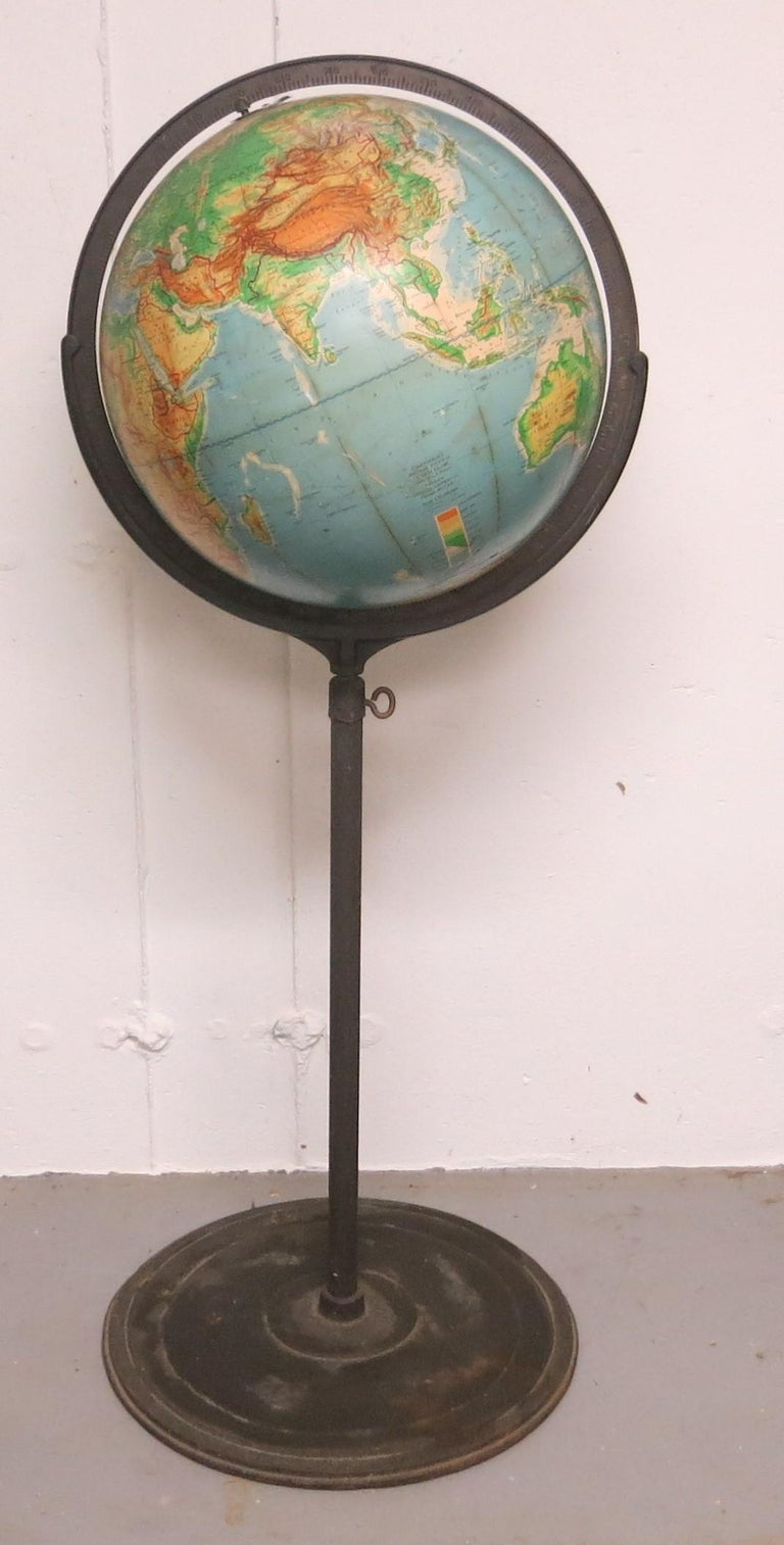 Denoyer-Geppertmidcentury floor globe. Physical political globe 16