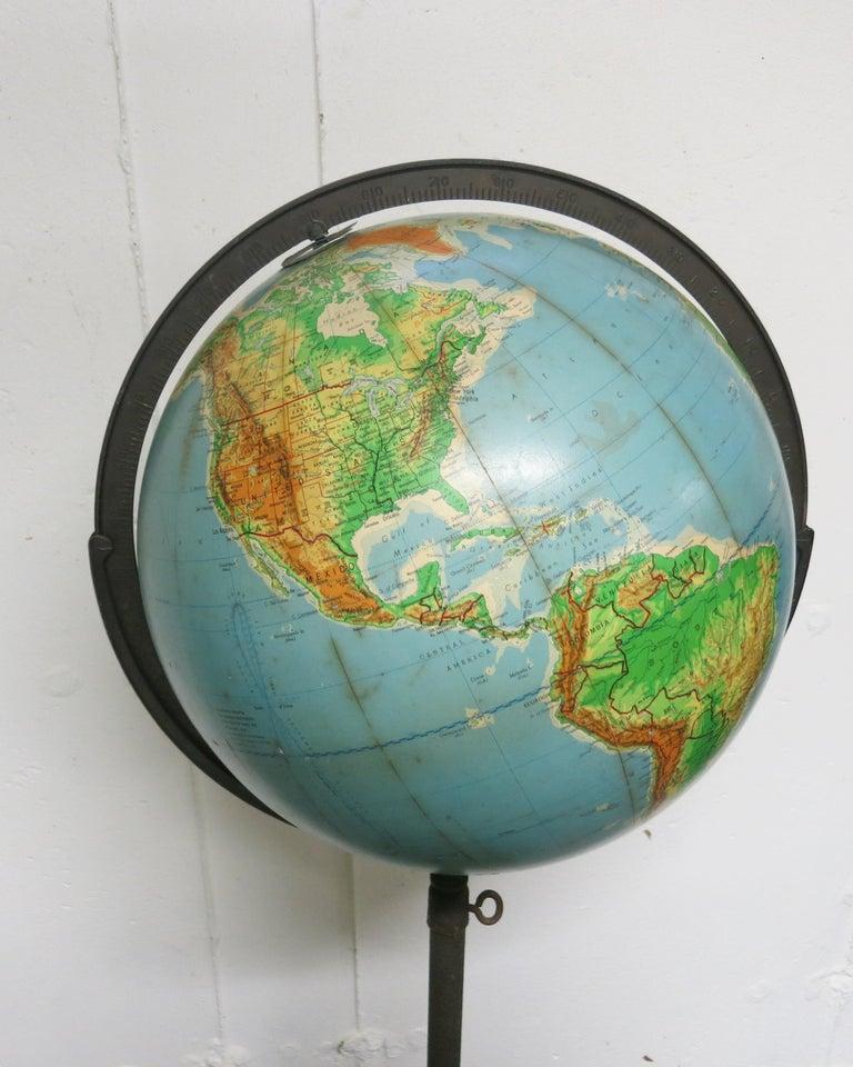 Mid-20th Century Denoyer-Geppert Floor Globe Midcentury For Sale
