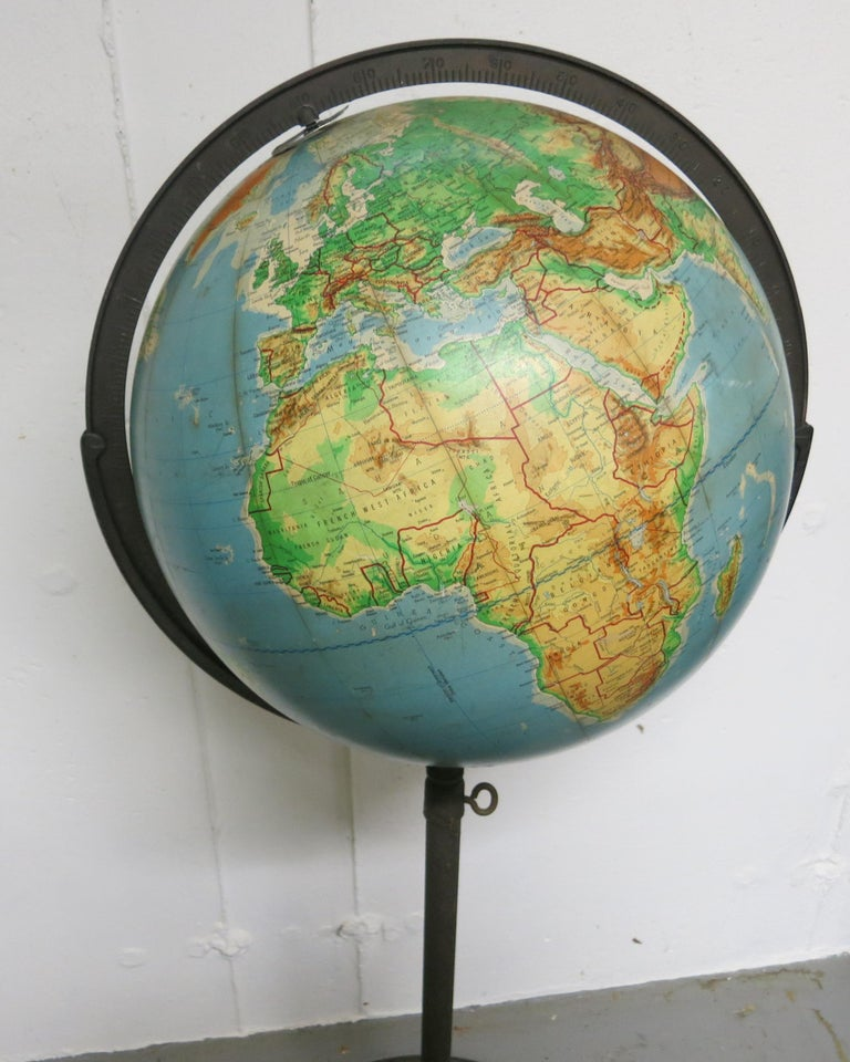 Metal Denoyer-Geppert Floor Globe Midcentury For Sale