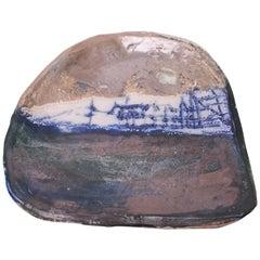 Dense Asymmetrical Stoneware Charger Signed Pollack, 1976