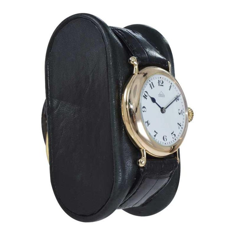 Art Deco Dent London 18kt. Gold Wrist Watch Made by Legendary Chronometer Maker from 1926 For Sale