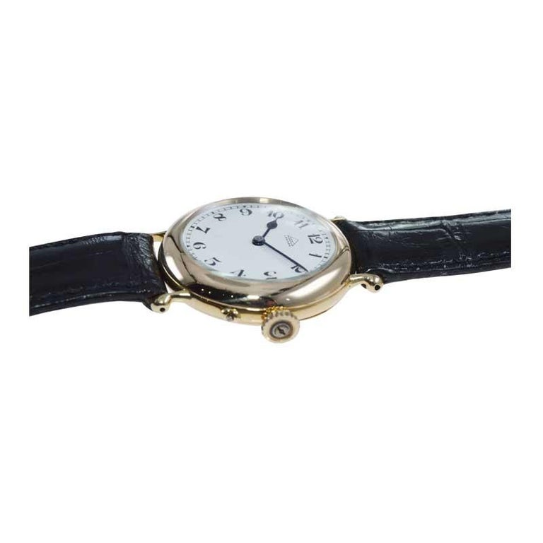 Dent London 18kt. Gold Wrist Watch Made by Legendary Chronometer Maker from 1926 In Excellent Condition For Sale In Long Beach, CA