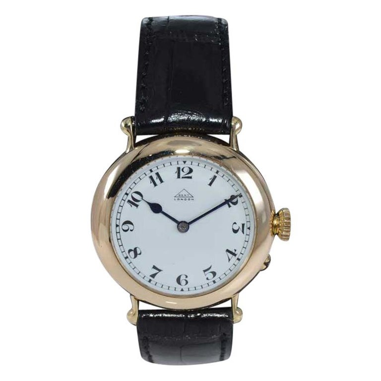 Dent London 18kt. Gold Wrist Watch Made by Legendary Chronometer Maker from 1926 For Sale