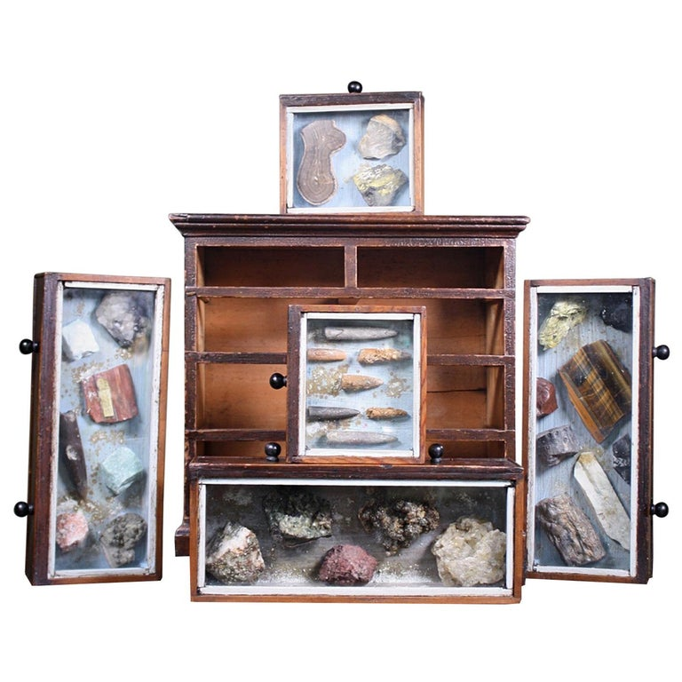 Denver Colorado D C Woodend, 1885 Table Top Geology Mineral Specimen Chest For Sale