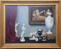 Still Life of Figurines - British 1930s Slade School art still life oil painting