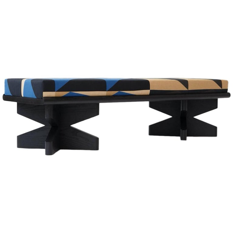 Depaysement Bench in Lacquered Ash and Woven Fabric by Weft, Black and Blue For Sale