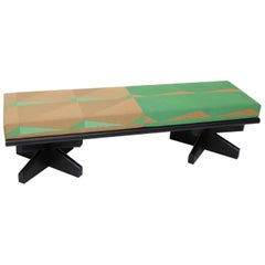Geometric Green Upholstered Lacquered Ash Bench by Vonnegut/Kraft for Weft