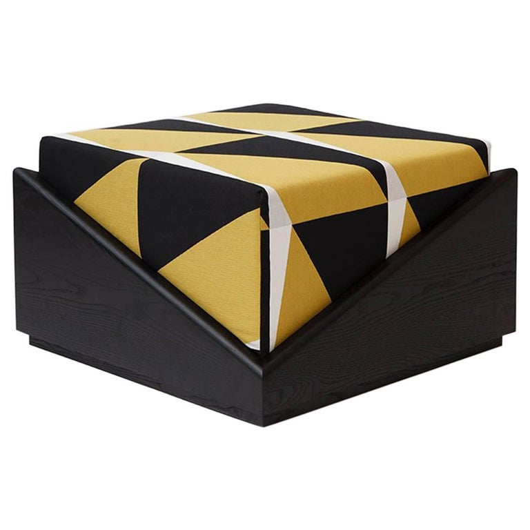 Depaysement Ottoman in Lacquered Ash and Woven Fabric by Vonnegut/Kraft for Weft For Sale