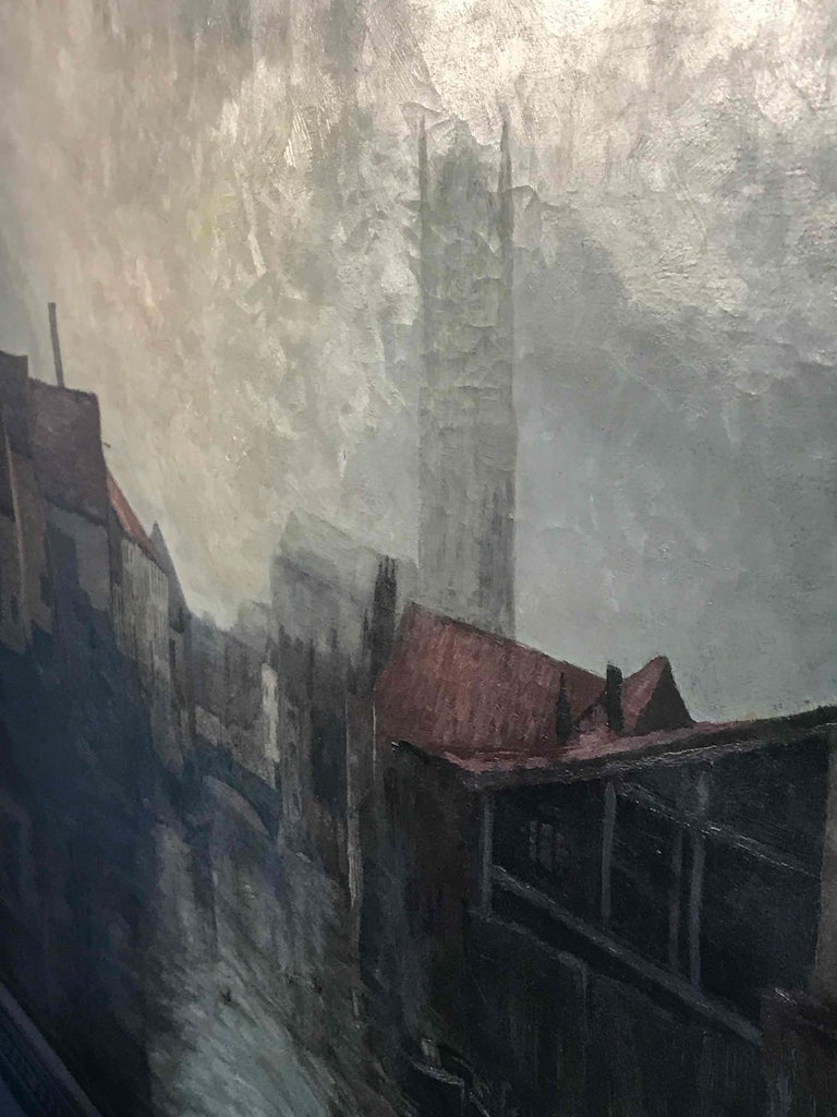 Belgian Depiction of City Life Oil on Canvas Painting from Belgium, circa 1890 For Sale
