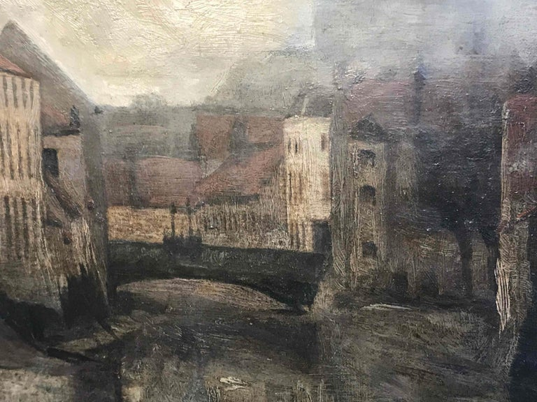 Depiction of City Life Oil on Canvas Painting from Belgium, circa 1890 In Good Condition For Sale In Los Angeles, CA