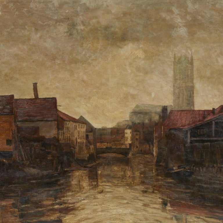 20th Century Depiction of City Life Oil on Canvas Painting from Belgium, circa 1890 For Sale