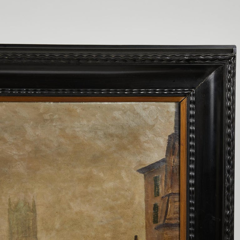 Depiction of City Life Oil on Canvas Painting from Belgium, circa 1890 For Sale 2