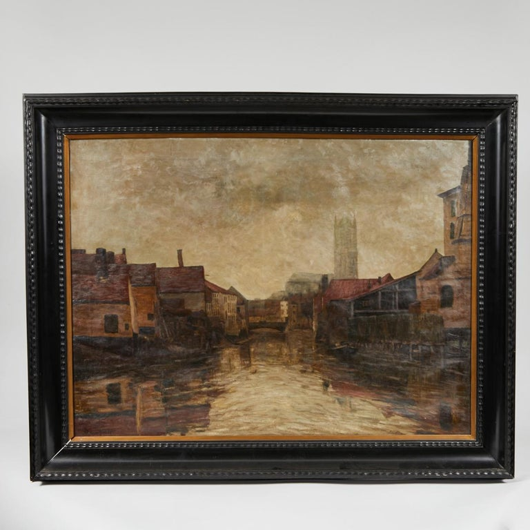 Depiction of City Life Oil on Canvas Painting from Belgium, circa 1890 For Sale 3