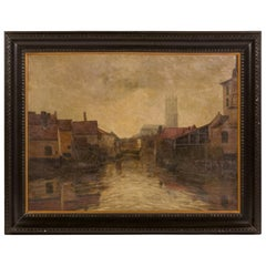 Depiction of City Life Oil on Canvas Painting from Belgium, circa 1890