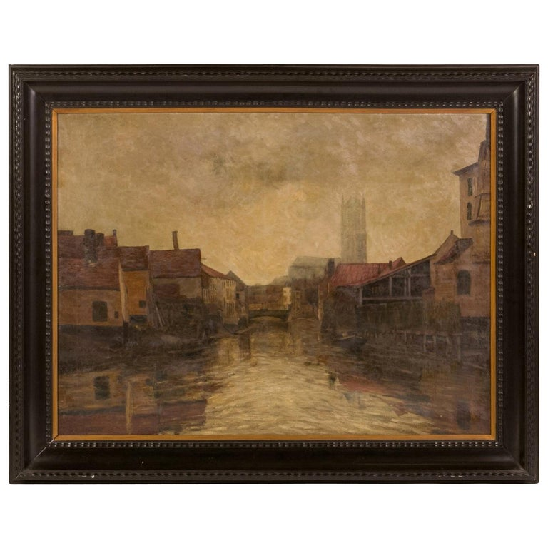 Depiction of City Life Oil on Canvas Painting from Belgium, circa 1890 For Sale